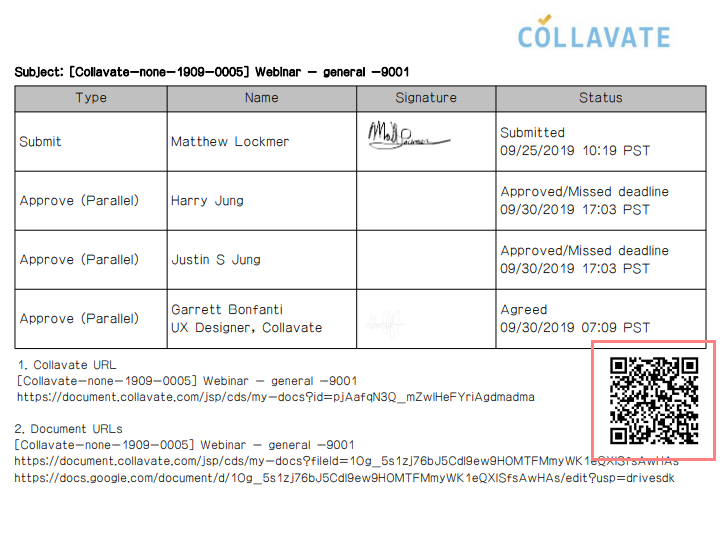 QR codes in Collavate workflow document
