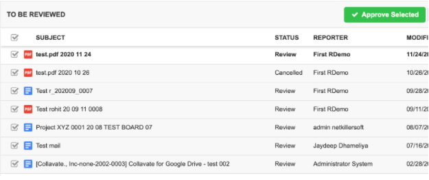 Bulk approval for google drive